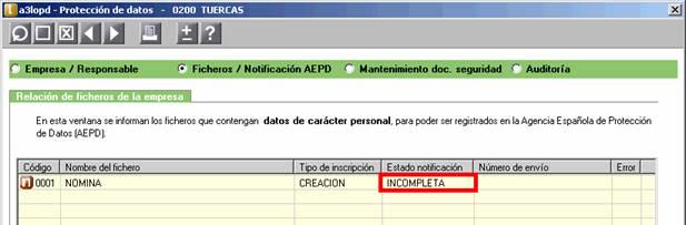Ficheros / Notificación AEPD