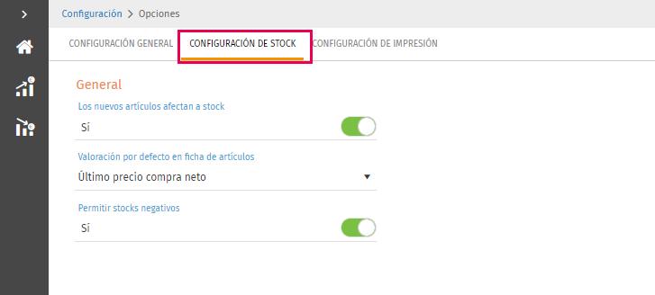 Stock en opciones