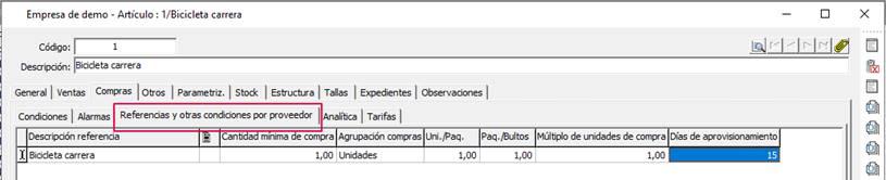 ompras/ Referencias y otras condiciones por proveedor