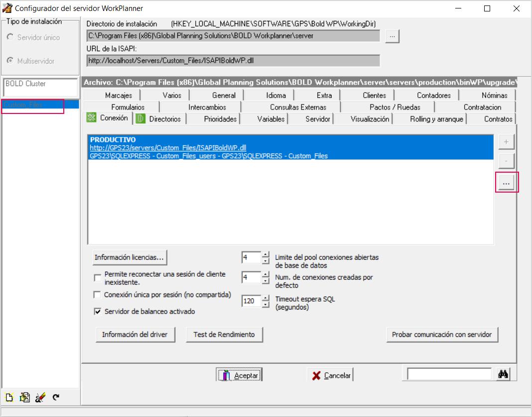 Configurador del servidor WorkPlanner