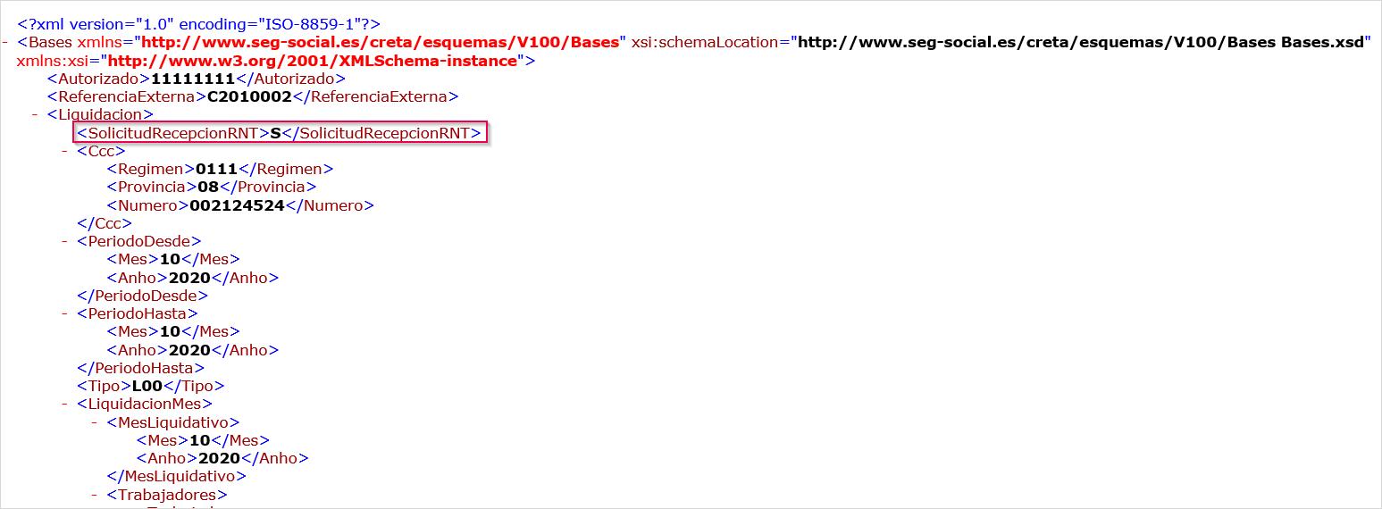 como ver dato solicitud fichero RNT en fichero bases