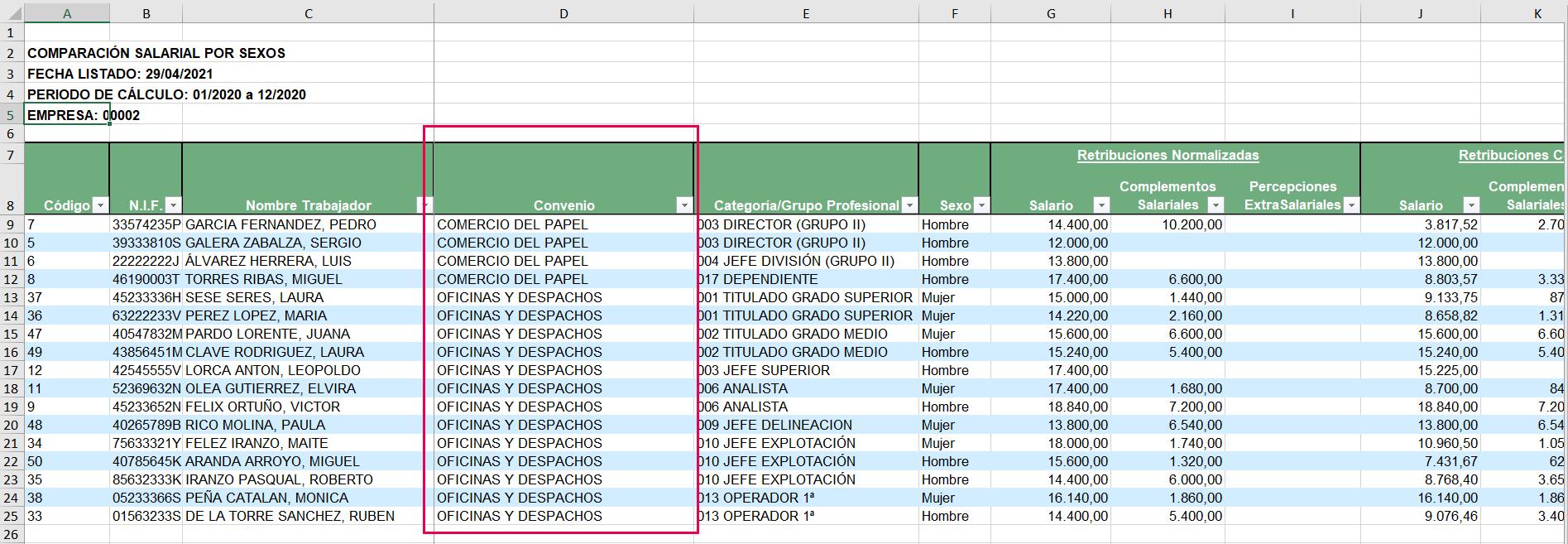 filtrar convenio en listado brecha