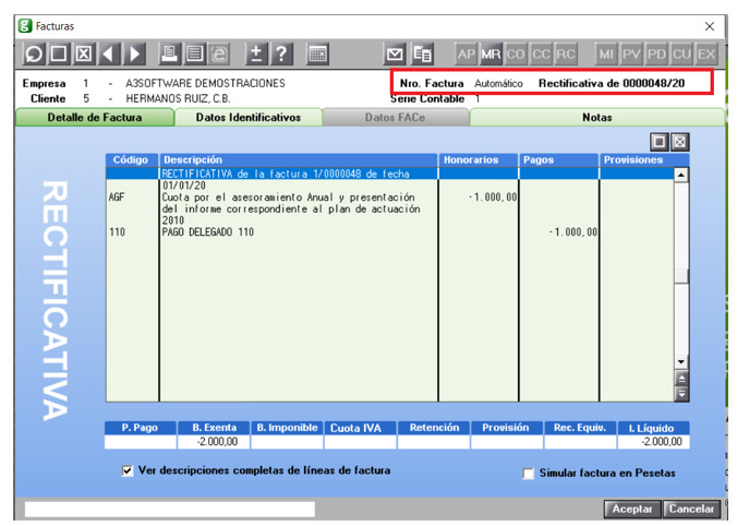 factura rectificativa informacion