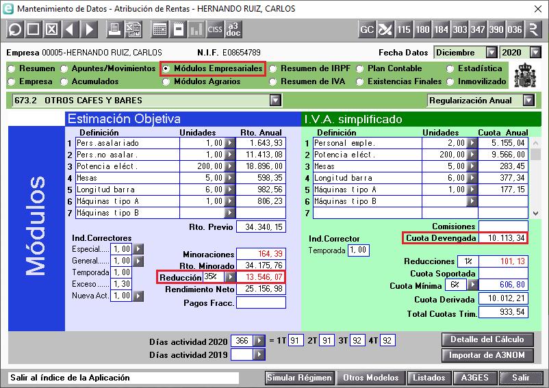 Modulos empresariales Regularizacion Anual Reduccion general SARS-CoV-2