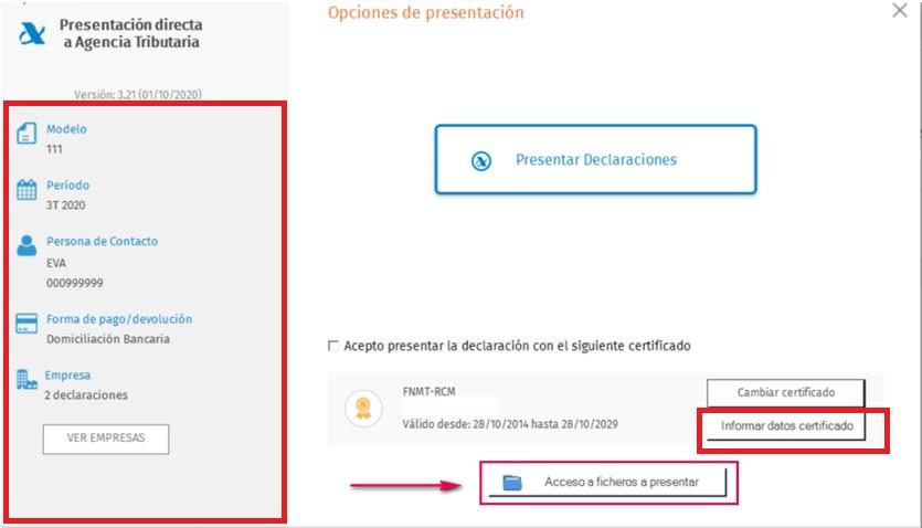 PDA Informar datos certificado