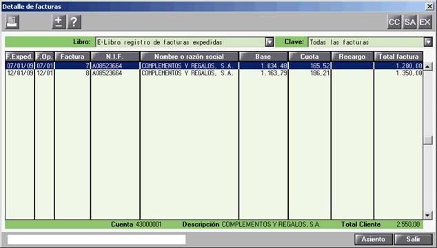 Detalle de facturas