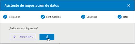 asistente importacion datos configuracion reloj