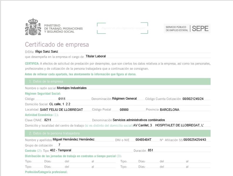 certificado sepe
