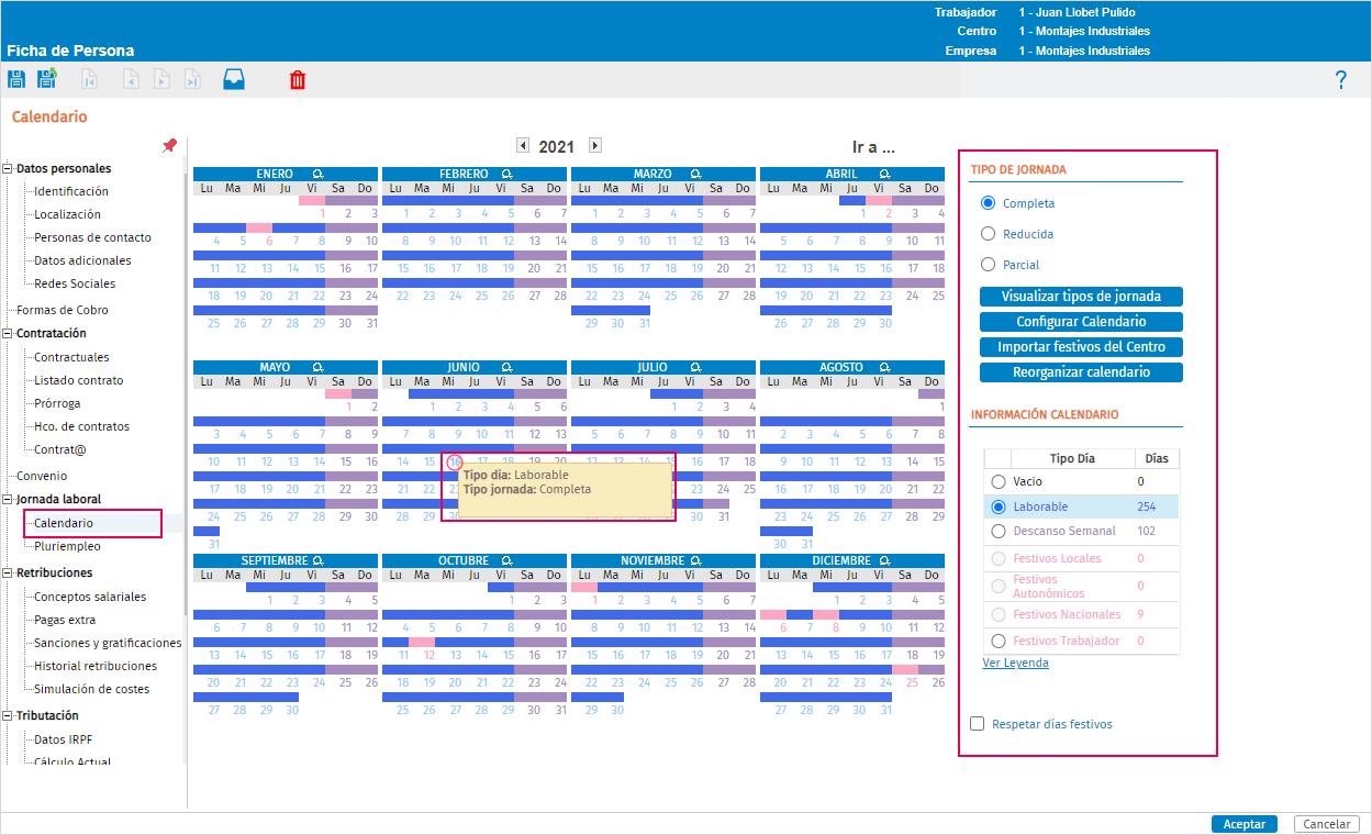 calendario ficha trabajador