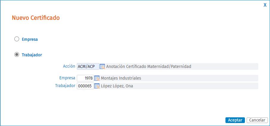 acción certificado maternidad paternidad