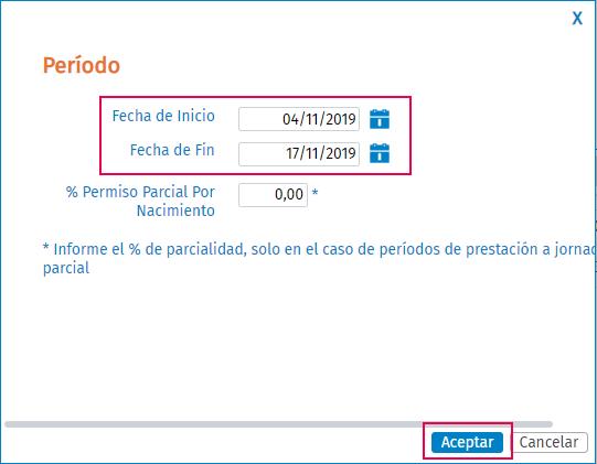 fechas periodos no consecutivo permiso nacimiento