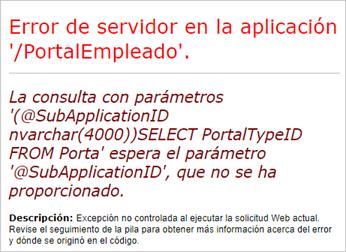 error servidor en la aplicacion