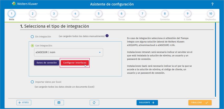 como configurar interfaces con el asistente