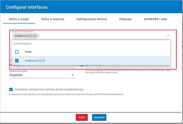 configurar interfaces datos a cargar empresas