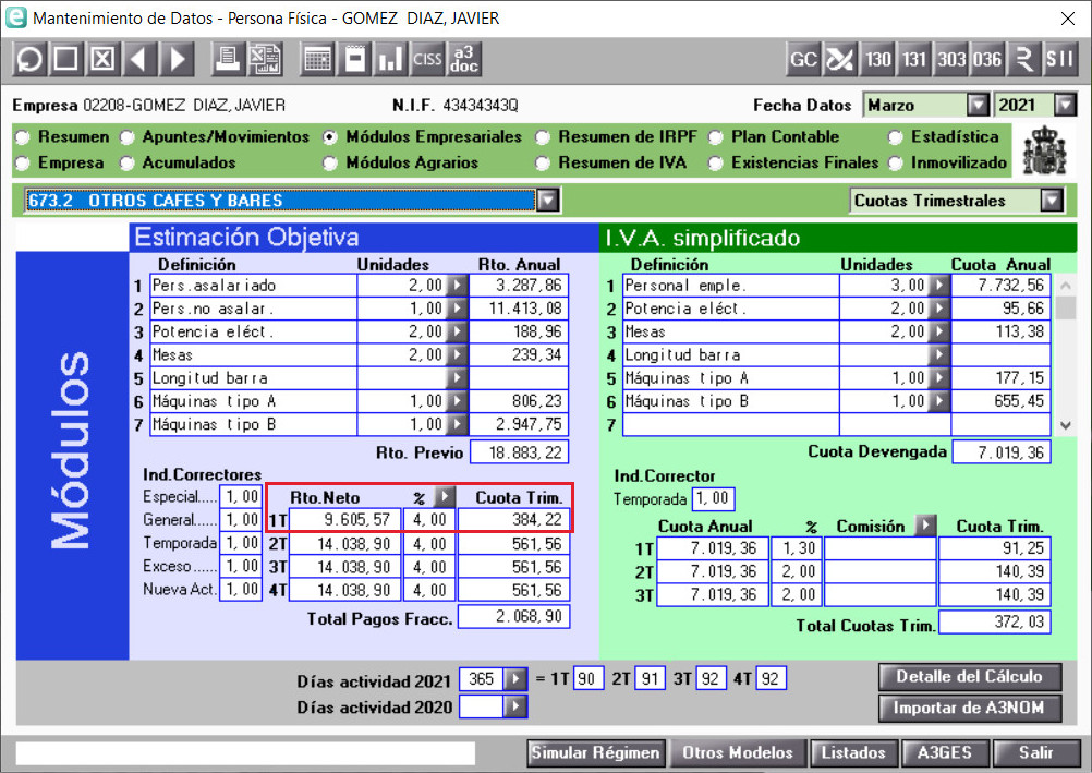 IRPF Cuota Trimestral Primer Trimestre