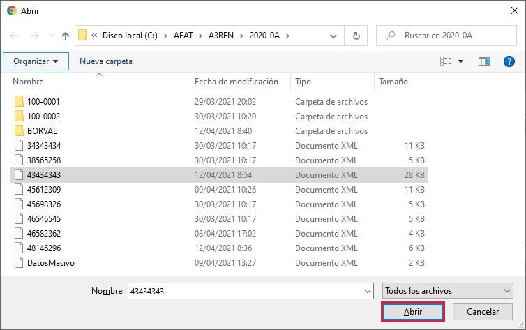 Presentacion Telematica con certificado Web AEAT Abrir fichero