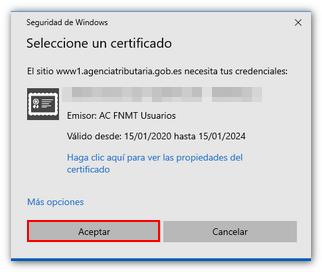 Seleccion de certificado