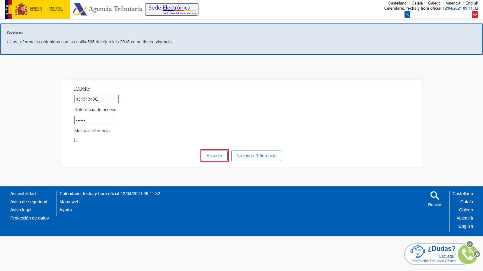 Presentacion Telematica con Numero de Referencia Web AEAT Informar Numero de Referencia