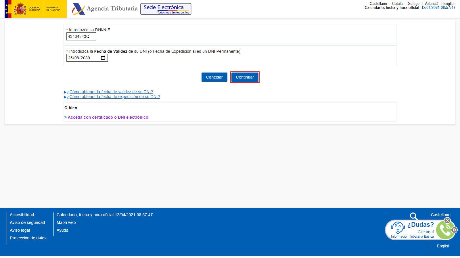 Presentacion Telematica con Numero de Referencia Web AEAT NIF y Fecha