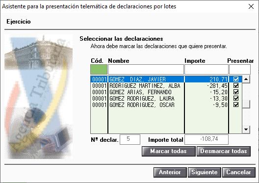 Asistestente para la presentacion directa telematica masiva individual de declaraciones Seleccionar declarantes