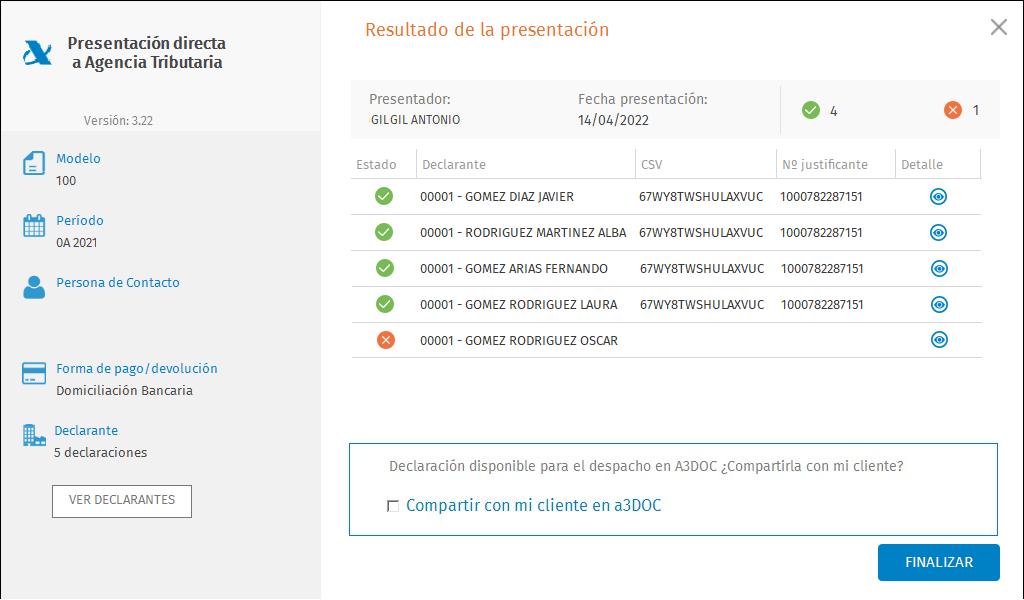 Presentacion directa masiva a la Agencia Tributaria Resultado de la presentacion Compartir con a3DOC con rechazada