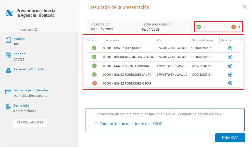 Presentacion directa masiva a la Agencia Tributaria Resultado de la presentacion Compartir con a3DOC con resumen