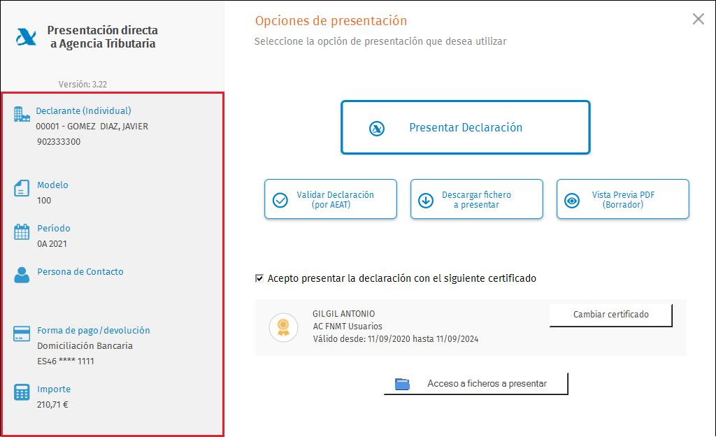 Presentacion Directa Individual con certificado Panel izquierdo
