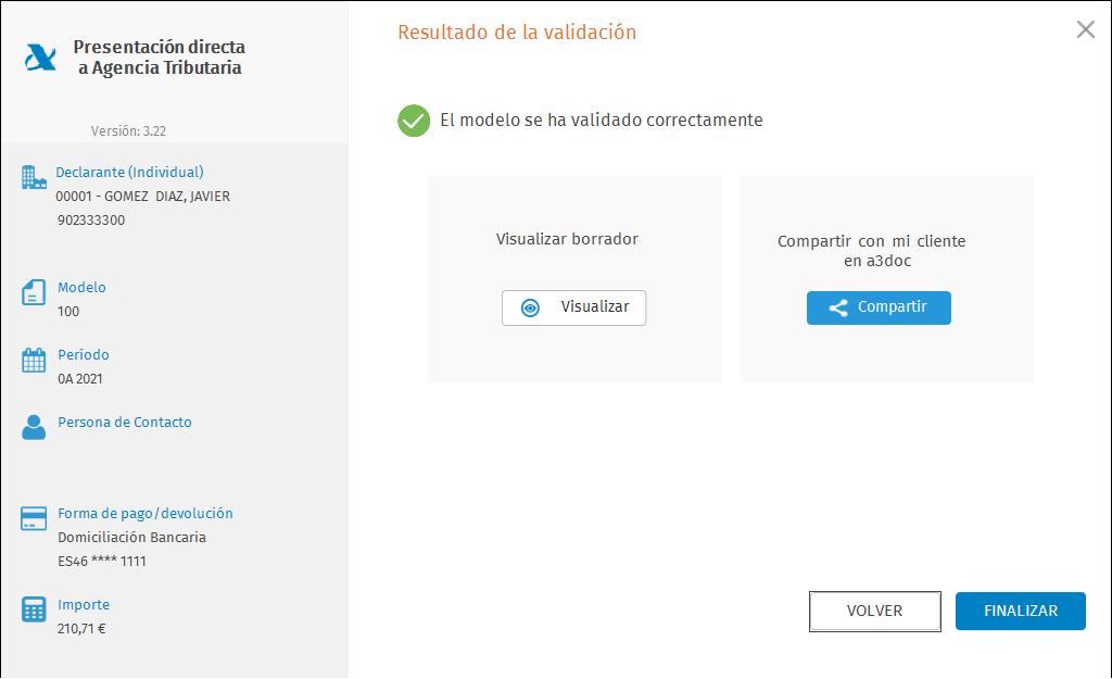 Presentacion Directa Individual con certificado Validacion modelo