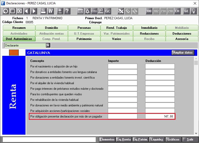 DDAA  Catalunya Ampliar Datos Por obligacion a presentar declaracion por tener mas de un pagador calculada