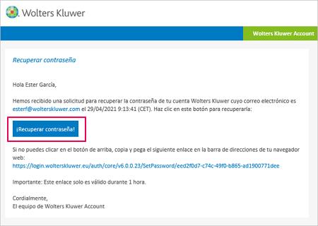 email recuperar pasword