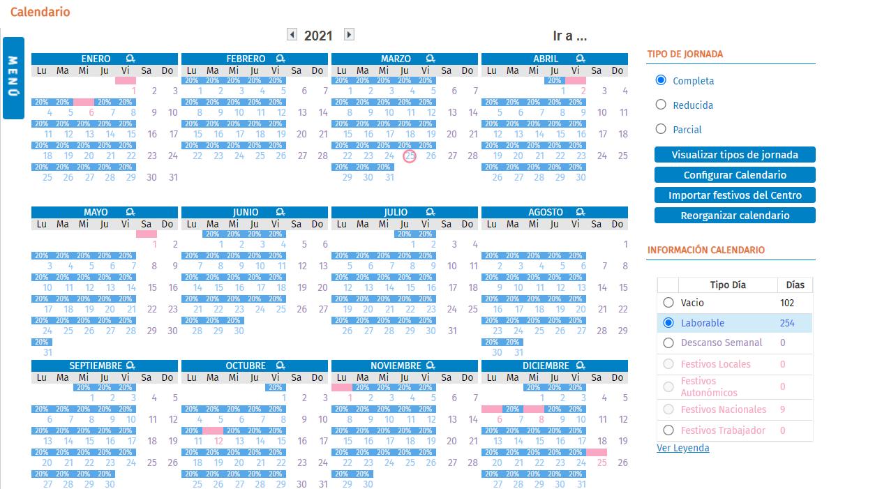 calendario reduccion jornada