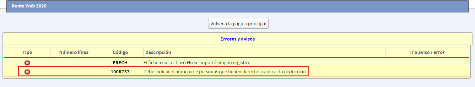 Error validacion Modelo 100 100R737 Debe indicar el numero de personas que tienen derecho a aplicar la deduccion