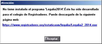 Mensaje no instalación Legalia2