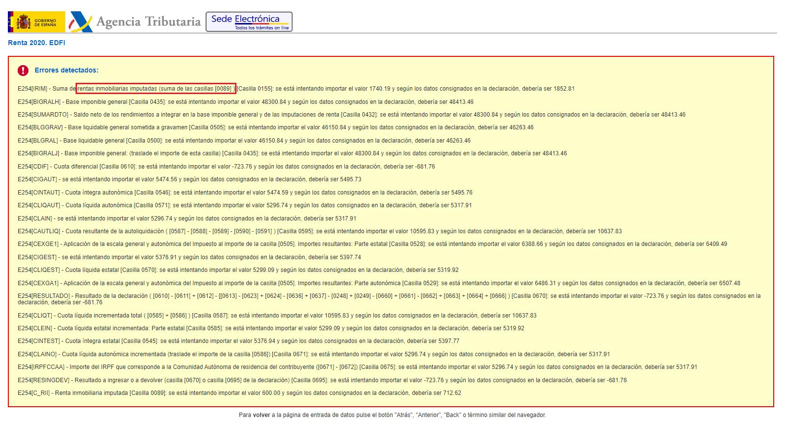 E254[IRIM] - Suma de rentas inmobiliarias imputadas (suma de las casillas [0089] ) [Casilla 0155]: se está intentando importar el valor 1740.19 y según los datos consignados en la declaración, debería ser 1852.81
