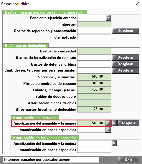 Gastos deducibles Amortizacion modiifcada manualmente