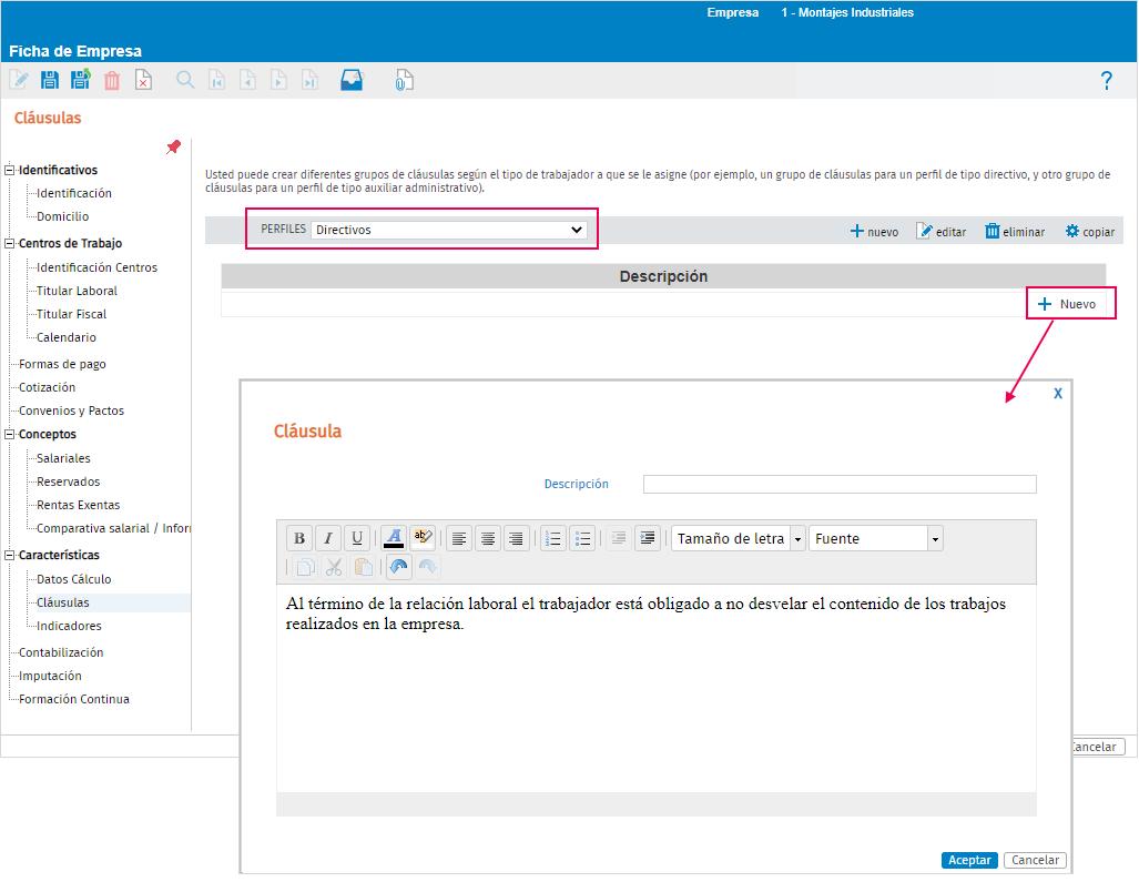 redactar y configurar clausula