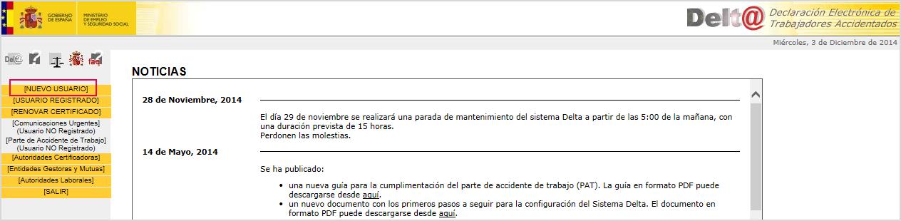 Web Ministerio Trabajo y Asuntos Sociales parte accidente