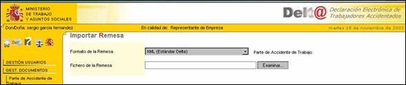 Web Ministerio Trabajo y Asuntos Sociales envío fichero remesa