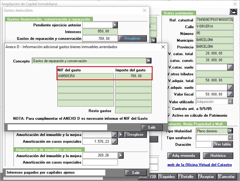 Anexo D Informacion adicional gastos deducibles
