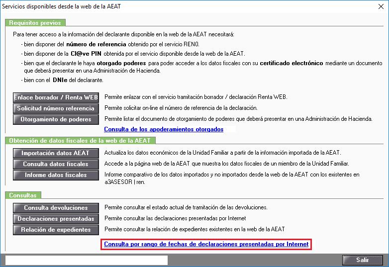 Servicios disponibles desde la web de la AEAT - Consulta por rango de declaraciones presentadas por Internet