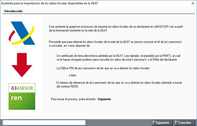 Asistente para la importacion de los datos fiscales disponibles en la AEAT