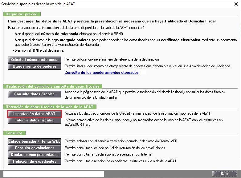 Servicios disponibles desde la web de la AEAT Importacion datos AEAT