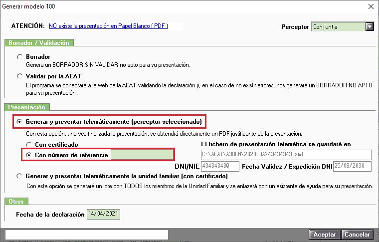 Generar modelo 100 con numero de referencia Solucion Alternativa