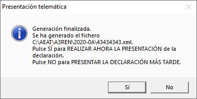 Presentacion Telematica con Numero de Referencia Generacion finalizada
