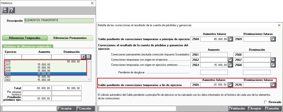 Ejemplo 1 Historico de correcciones cumplimentado todos los ejercicios Saldo pendiente de correcciones temporarias a fin de ejercicios