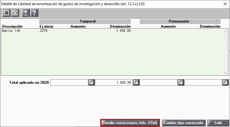 Ejemplo 2 Detalle de Libertad de amortizacion de gastos de investigacion y desarrollo