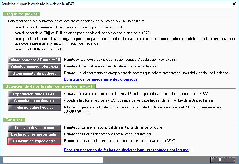 Servicios disponibles desde la web de la AEAT - Relación de expedientess