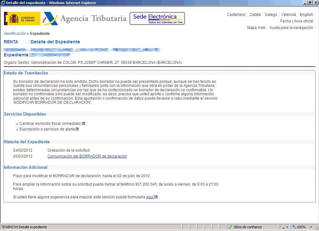 Web AEAT Consulta Expedientes