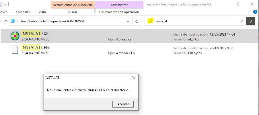 no se encuentra el fichero instalat.cfg en el directorio