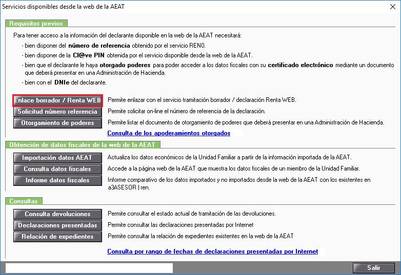 Servicios disponibles desde la web de la AEAT - Enlace borrador Renta WEB